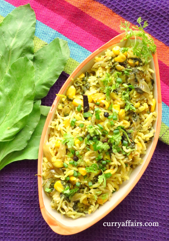 Corn Palak Pulao - Corn and Spinach Rice