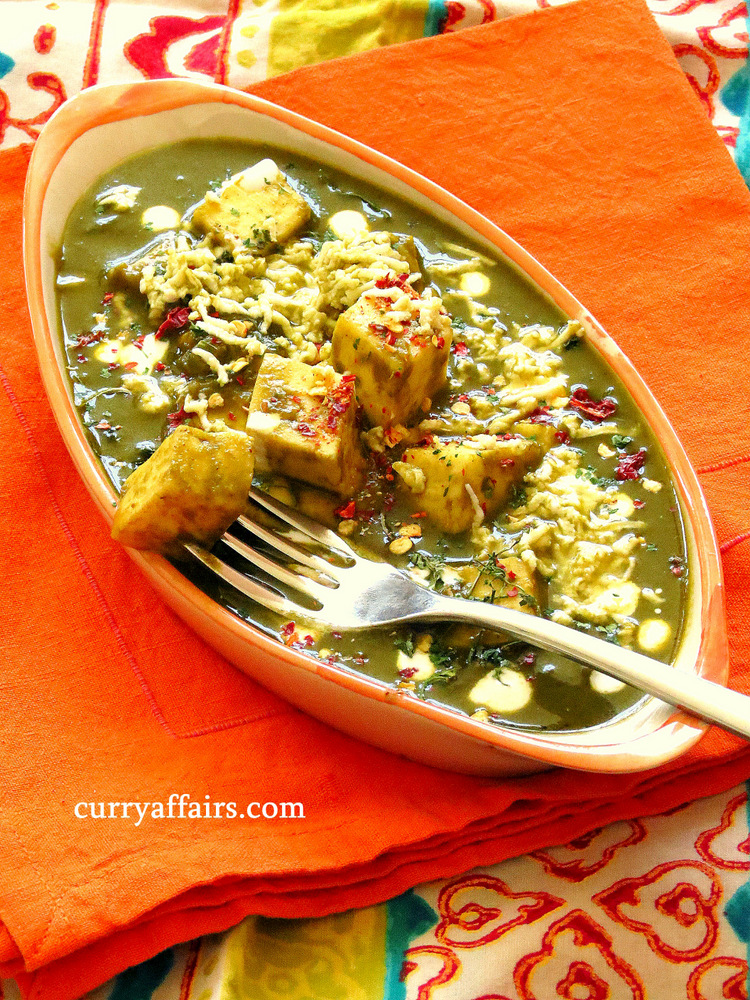 Palak Paneer (Spinach and Cottage Cheese Curry)